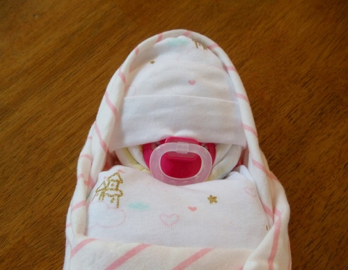Girl Pink and White Castle Stripes Swaddled Diaper Baby