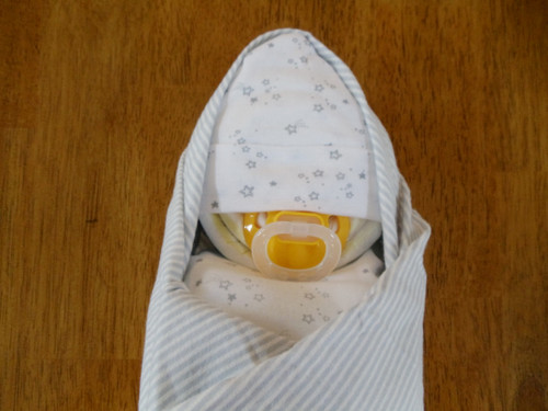 Unisex Gray and White Stars and Stripes Swaddled Diaper Baby