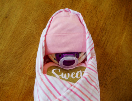 Eco Girl Sweet Pink and White Stripes Swaddled Diaper Baby