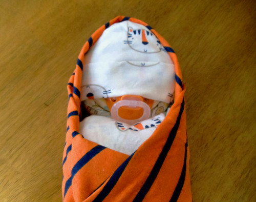 Boy Eco Tiger Orange and Blue Swaddled Diaper Baby