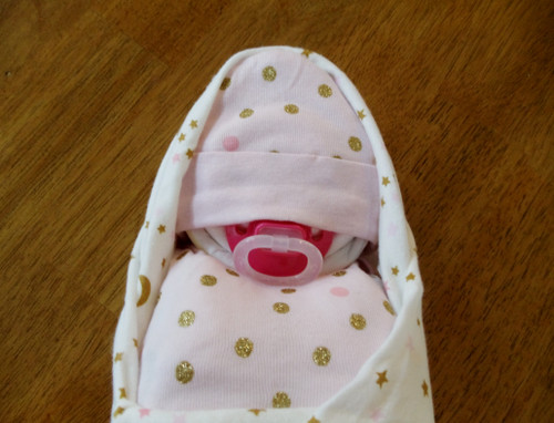 Girl Pink and Gold Stars Moons Dots Swaddled Diaper Baby
