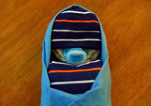 Boy Eco Blue Stripes Swaddled Diaper Baby