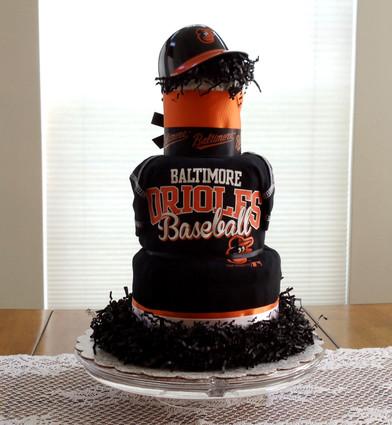 Black and Orange Baltimore Orioles Fan Diaper Cake