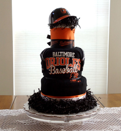 Black and Orange Baltimore Orioles Fan Diaper Cake