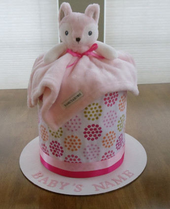 Girl's Pink and White Foxy Drip Diaper Cake