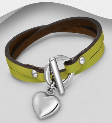 Heart Charm Leather Stainless Steel Bracelet