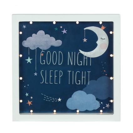 """Good Night Sleep Tight"" LED box frame"
