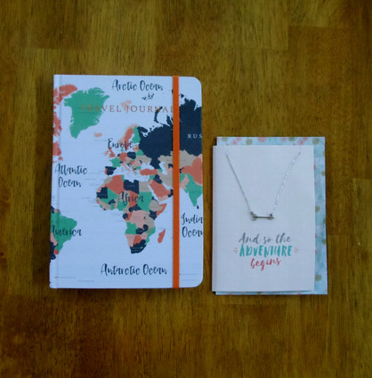 And so the Adventure begins silver tone arrow necklace with card and travel journal