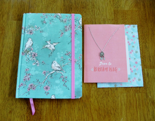 """Dare to Dream Big""  card with Dream Catcher Necklace and Journal gift set"