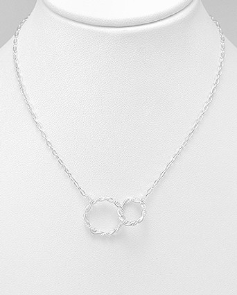Sterling Silver Twisted Circle Links Necklace