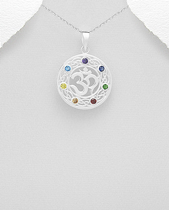 Sterling Silver Celtic, Om Chakra Pendant Decorated with CZ Simulated Diamonds, Plated with Pure Silver