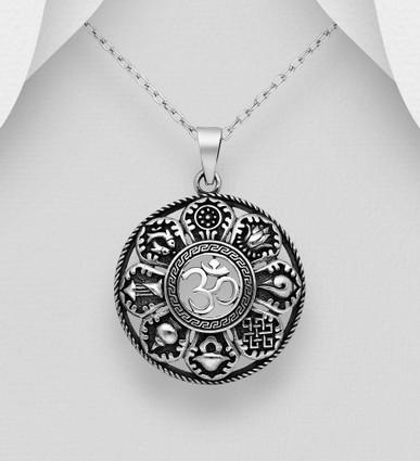 925 Sterling Silver Hindu Mantra Om Pendant