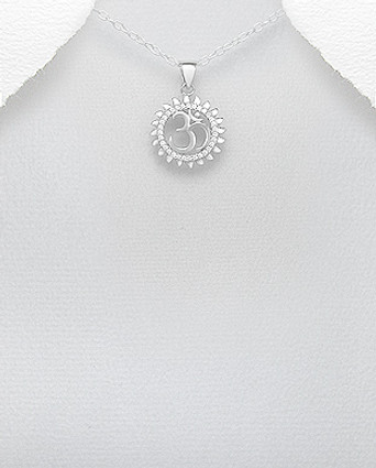 Om Pendant Decorated with CZ Simulated Diamonds, Plated with Rhodium
