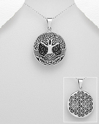 Sterling Silver Oxidized Celtic Tree Of Life And Flower Of Life Pendant