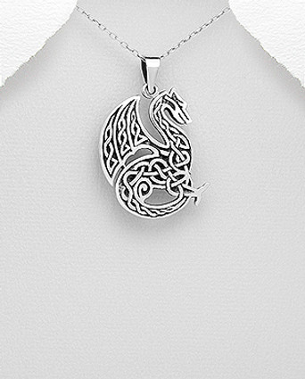 925 Sterling Silver Oxidized Celtic Dragon Pendant