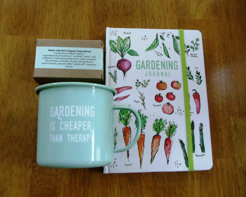 Gardener's Journal, Tin Cup and Soap gift set.