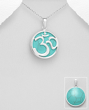 925 Sterling Silver Om Sign Pendant Decorated with Reconstructed Turquoise or Red Resin
