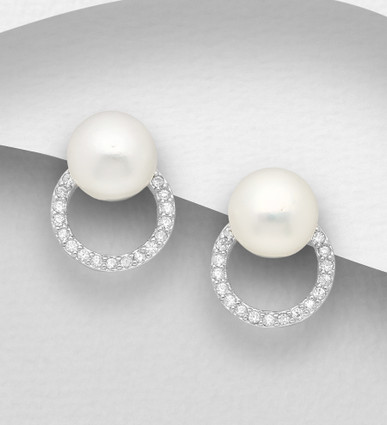 Sterling Silver Round Push-Back Earrings Decorated with CZ Simulated Diamonds and Freshwater Pearl