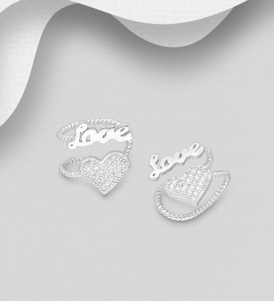 Sterling Silver Heart And Love Earring Cuffs Decorated with CZ Simulated Diamonds