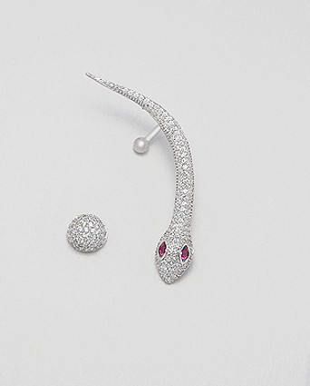 Sterling Silver Mismatched Push-Back Snake Ear Cuff Decorated with CZ Simulated Diamonds, Plated with Rhodium