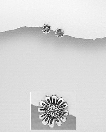 Sterling Silver Oxidized Flower Push-Back Earrings