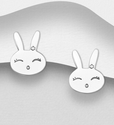 Bunny rabbit studs made from sterling silver