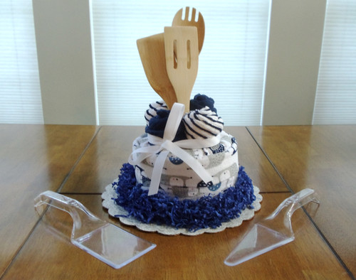 Blue, Gray and White Owl Kitchen Towel Cake