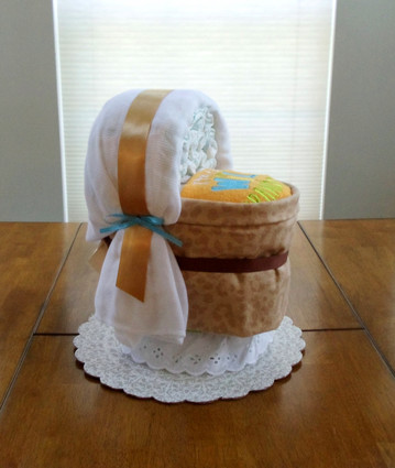 """I'm The Wild Grandchild"" Unisex Bassinet Diaper Cake."