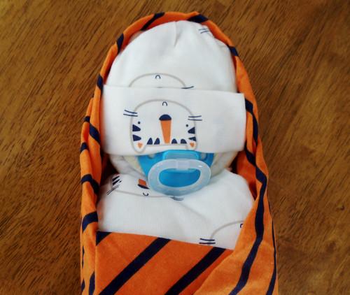 Boy Orange/Blue/White Tiger Swaddled Diaper Baby