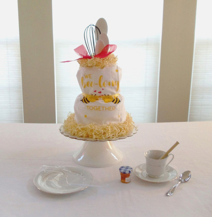 """We bee-long Together"" Kitchen Towel Cake"