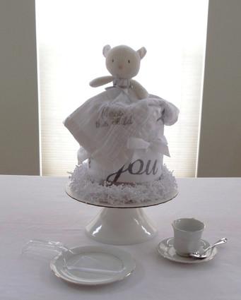 Unisex Christening Baby Lamb Drip Diaper Cake