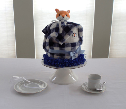 Boy Blue/White Foxy Tiger Drip Diaper Cake
