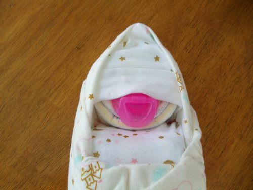 Girl Pink and Cream Castle Swaddled Diaper Baby