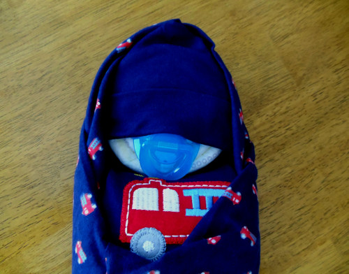 Boy's Fire Engine Swaddle Diaper Baby