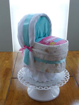Girl Pink/Blue/White Castles Bassinet Diaper Cake