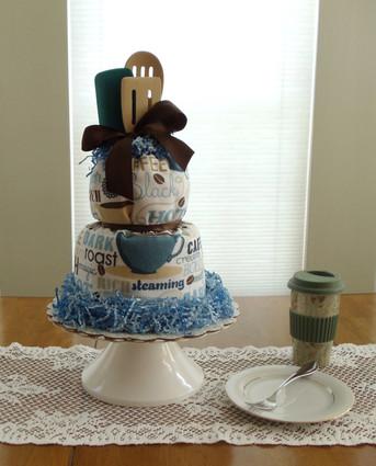 Blue Coffee Kitchen Towel Cake