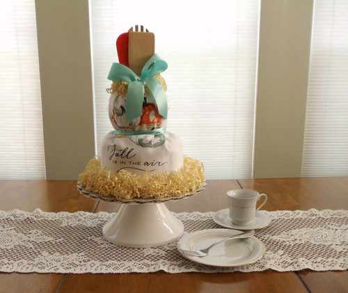 Fall Is In The Air Kitchen Towel Cake