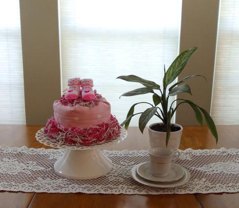 Eco-Friendly Girl's Little Angel Pink Dots Bundt Diaper Cake