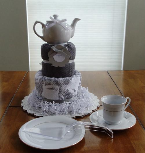 Gray and White Tea Time Kitchen Towel Cake