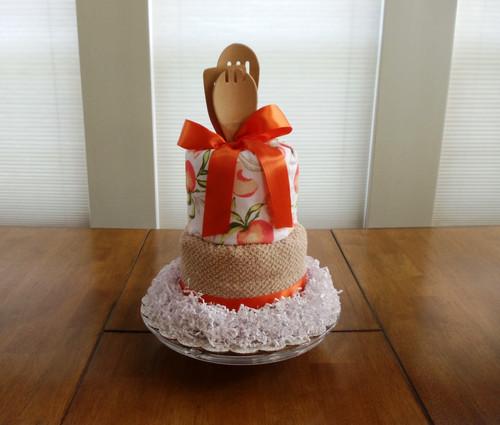 Peaches and Cream Kitchen Towel Cake