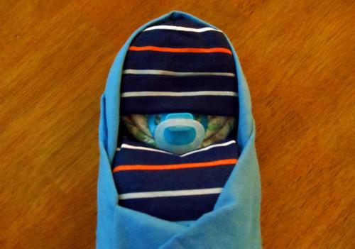 Boy Eco Blue Stripes Swaddled Diaper Baby
