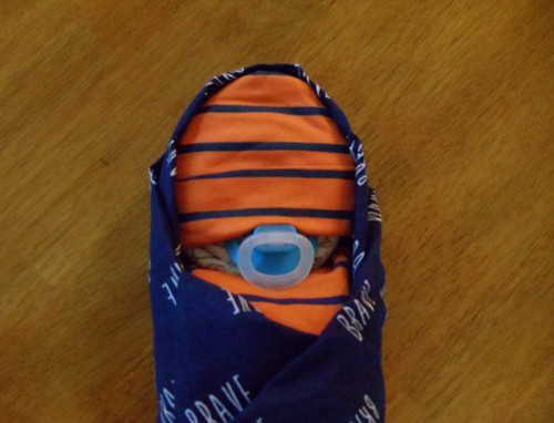 Boy Eco Brave Orange and Blue Swaddled Diaper Baby
