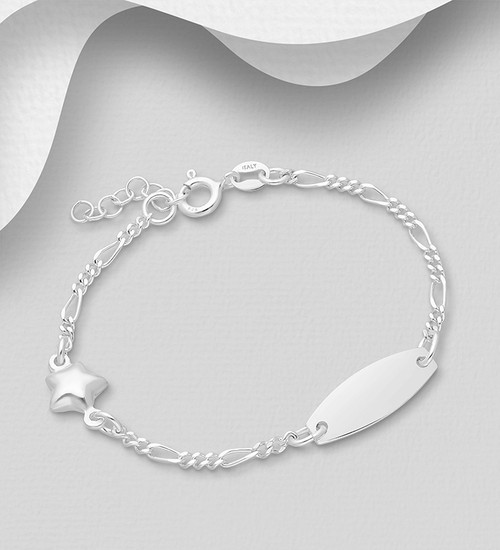 925 Sterling Silver Star & Tag Bracelet, Children's and Baby, Made in Italy