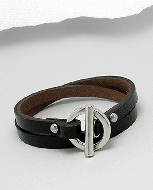 Black leather double wrap bar clasp bracelet