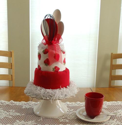 Strawberry Kitchen Towel Cake