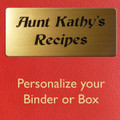 Plaque for Personalizing Recipe Box or Recipe Binder