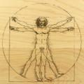 Vitruvian Man 9x12 Grooved Personalized Cutting Board
