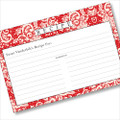 Personalized 4x6 Recipe Card Lace Settings Apple Red 40ea