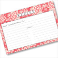 Personalized  4x6 Recipe Card Lace Settings Pink Coral 40ea