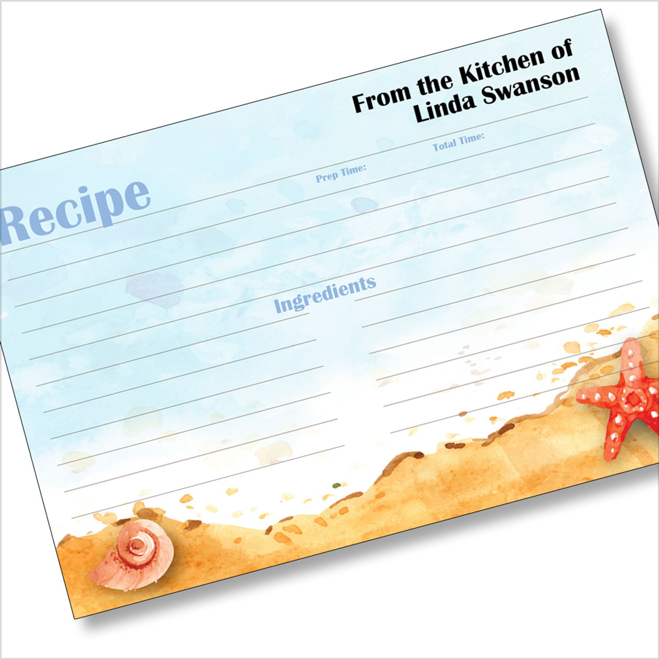 Personalized 4x6 Recipe Card Seaside Starfish Beach Light Blue 40ea